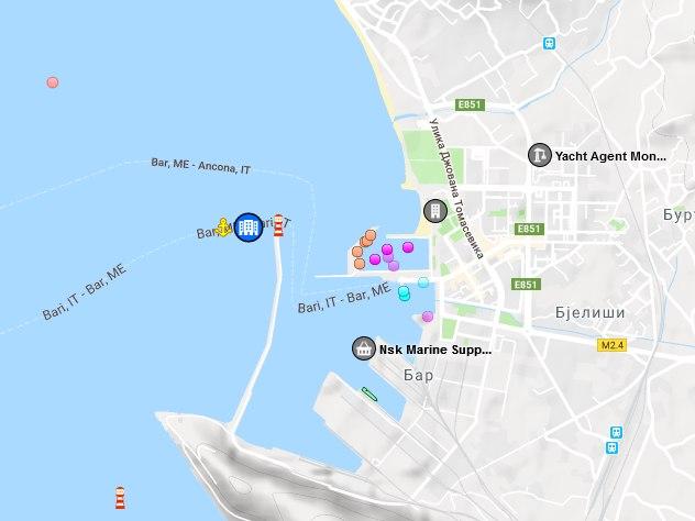 Ferry Map Montenegro-Italy