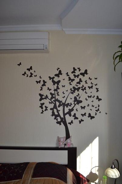 фотоотзыв дерево из бабочек наклейка на стену
