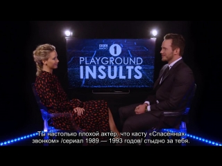Jennifer Lawrence & Chris Pratt Insult Each Other | CONTAINS STRONG LANGUAGE! [RUS SUB]