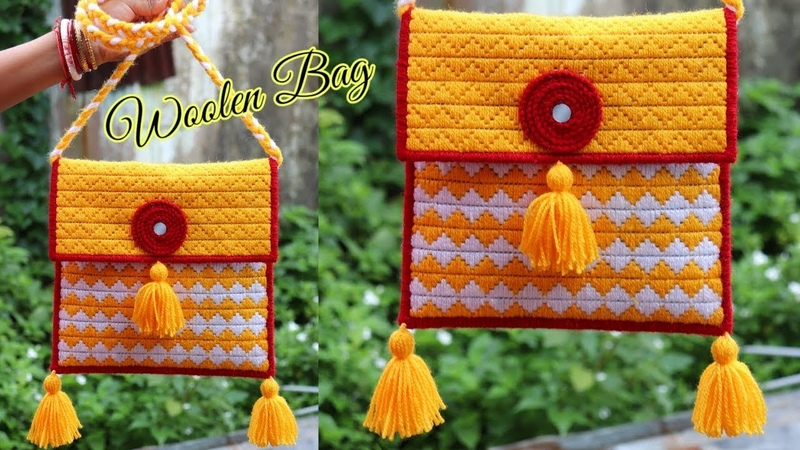 Woolen ladies side bag Or Purse Using Plastic Canvas   Best out Of waste Craft   Unique Idea