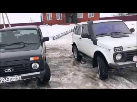 три НИВЫ 4х4 (off road) по тяжелому снегу