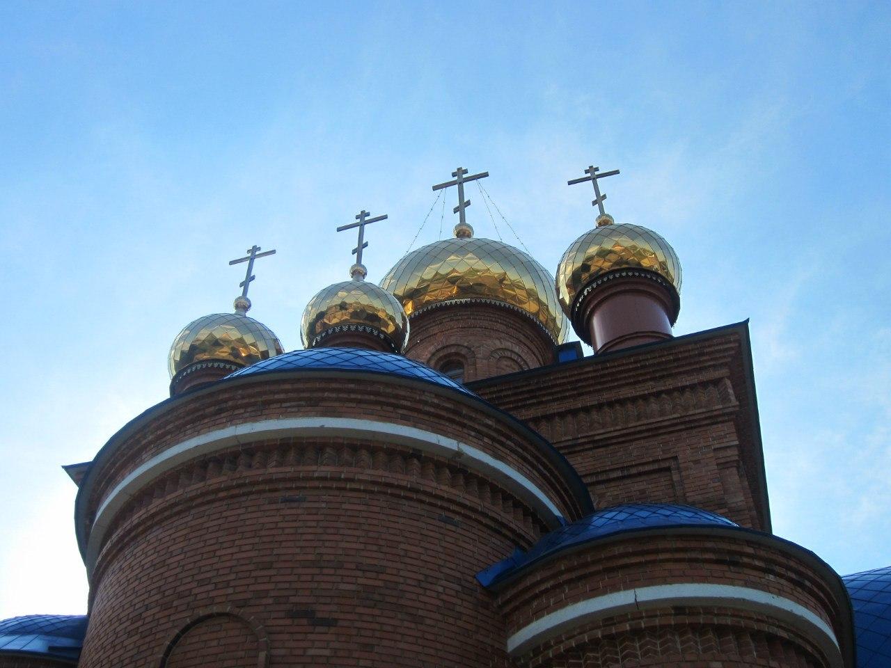Вид на купола полетаевской церкви со стороны западного фасада (03.07.2014)
