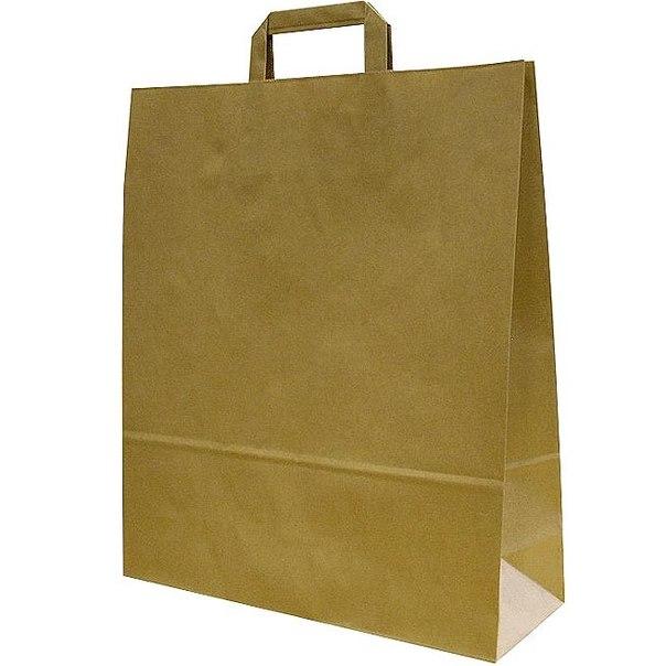 Пакеты бумажные крафт 38х26х11 коричневые с плоск. ручками (100гр/м) - VsePaketi.ru.