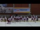 Драка российских и словацких хоккеистов