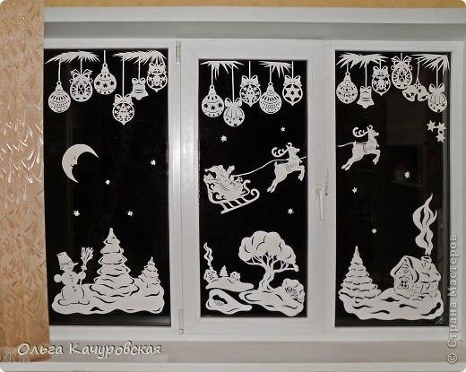 Рисунки на окне на новый год