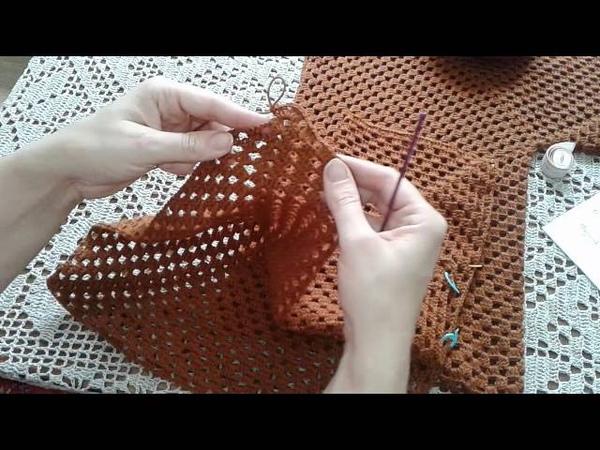 Кардиган из шестиугольников. Часть 2. Формирование полочек и спинки. Knitting womens cardigan.