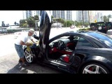 Ice T Car Porn:The Black Monster Custom Wide Body Reintech SL55R at Miami car wash