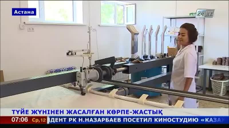 Астанада түйе жүнінен көрпе, көрпеше, жастық шығаратын цех жұмысын бастады.