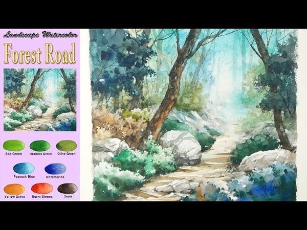 숲길 - 풍경수채화그리기(번지기기법. 파브리아노 황목) [남일 수채화] Forest road- Landscape Wat