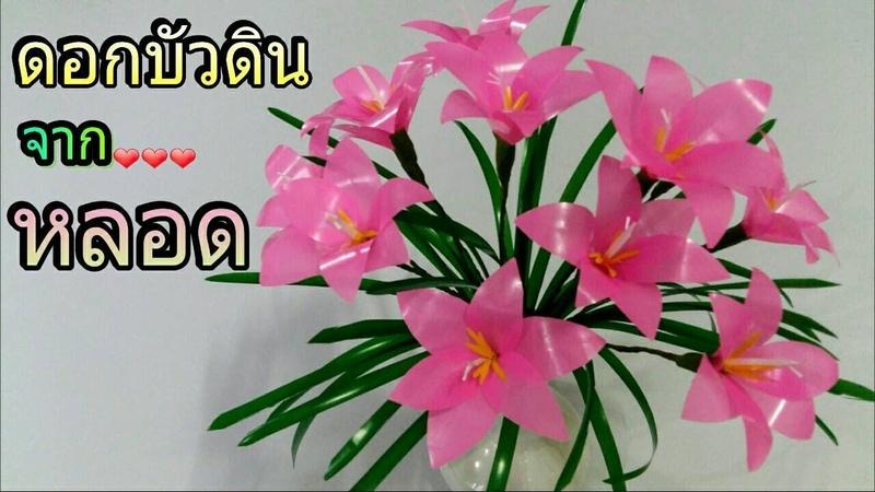 ดอกไม้จากหลอด ดอกบัวดิน จากหลอด by มายมิ้36