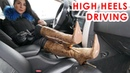 Catherina drives a car in pointed high heels Gianmarco Lorenzi gold pithon boots EU 38 US 7,5