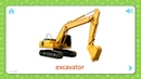 Excavator Transportation Flashcards for Kids
