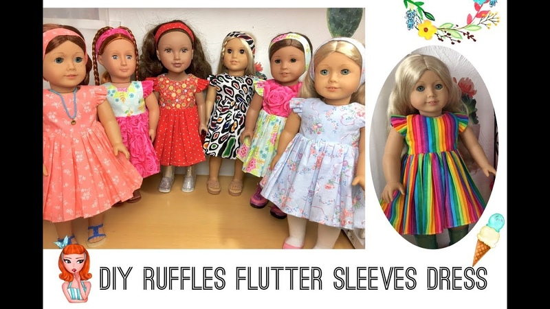 """DIY ruffle flutter sleeve dress tutorials for 18"""" dolls AG free Patterns sewing project No.26"""