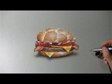 Drawing Time Lapse: McDonald's McHeaton burger - hyperrealistic art