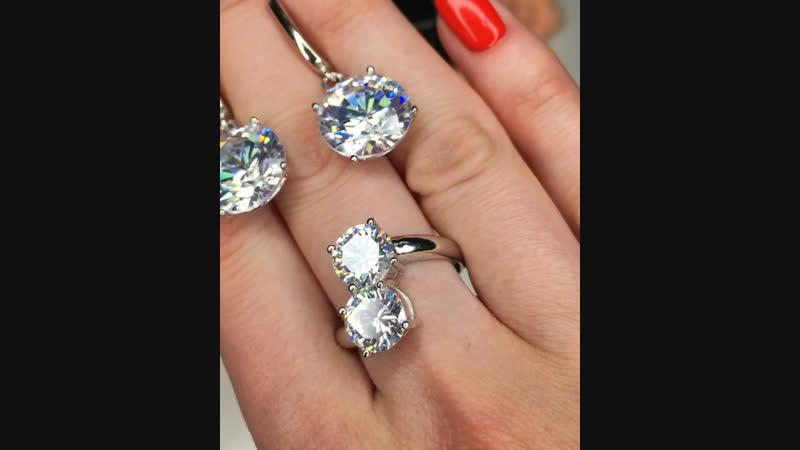 😍красивейший дуэт 💎Крупные цирконы алмазной огранки/ интересная моделька кольца😍🔝❗️ЦЕНЫ 2800₽ 2600₽❗️