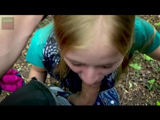 lovely blowjob for a stranger in the public park POV teen deepthroat tears