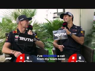 Red Bulls Daniel Ricciardo and Max Verstappen _ Grill the Grid_ Truth or Lie