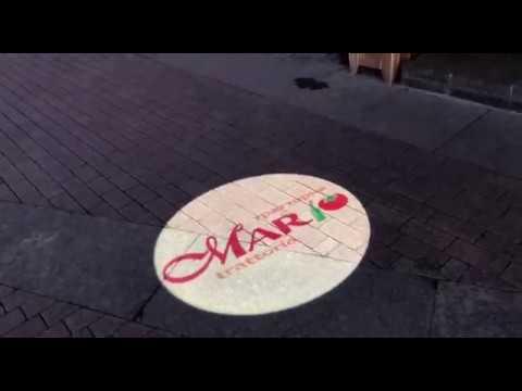 Уличный ГОБО проектор для итальяского ресторана Mario