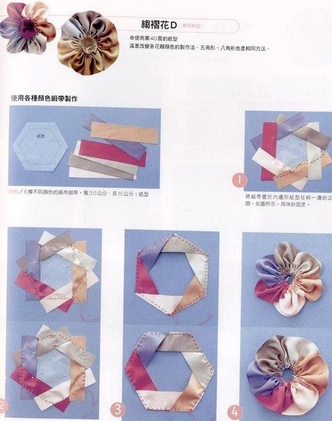 Цветы из лент своими руками схема