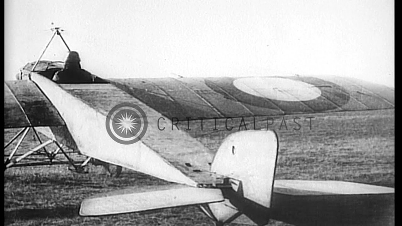 Three World War I airplanes: Morane-Saulnier G; Nieuport; and Spad HD Stock Footage