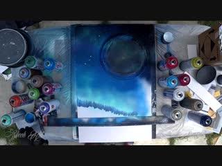 Howling wolf on the moonlight - spray paint art - by skech. работа уличных художников