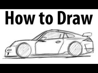 как рисовать porsche карандашом