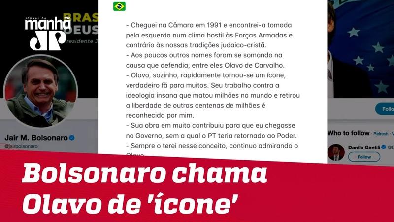 Bolsonaro chama Olavo de 'ícone' e defende fim da crise entre escritor e militares