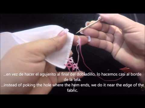 Frivolite tatting lesson 154 tatting onto fabric - tejer directamente a la tela