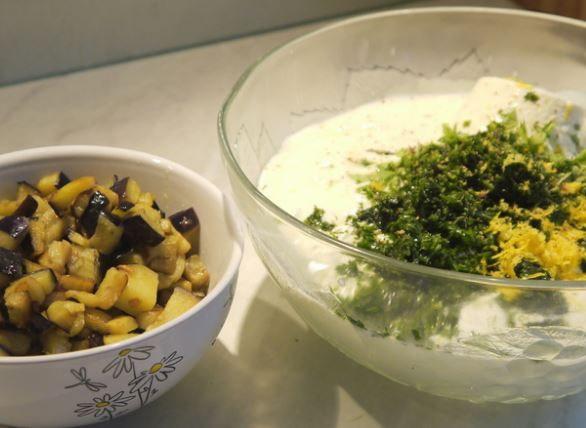 Холодный кисломолочный суп с баклажанами