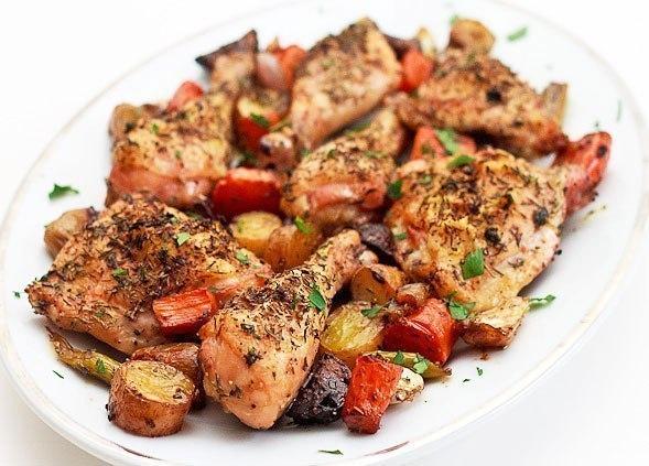 Запеченная курица с овощами  W9noSLUZTTM