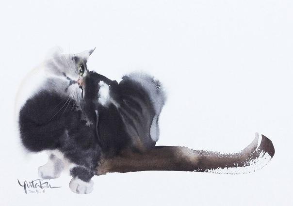 Ютака Мураками (Yutaa Muraami). Эти трогательные пушистые создания, которых так и хочется погладить, несомненные фавориты творчества Ютаки. Спящие и играющие, взбудораженные и умиротворённые,