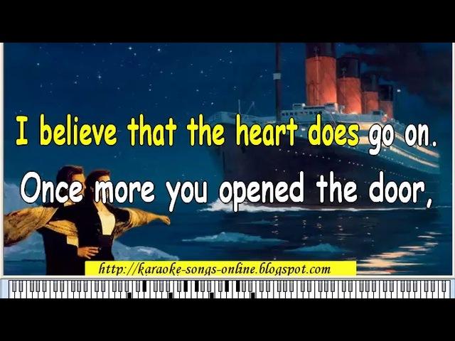 Celine Dion My heart will go on karaoke instrumental with lyrics on the screen