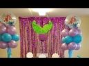 Колонна из шариков с водорослями на праздник в стиле Русалочка