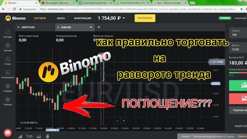 Биномо!Лучшая стратегия для Бинарных Опционов|Как торговать на развороте тренда|Свечной анализ|