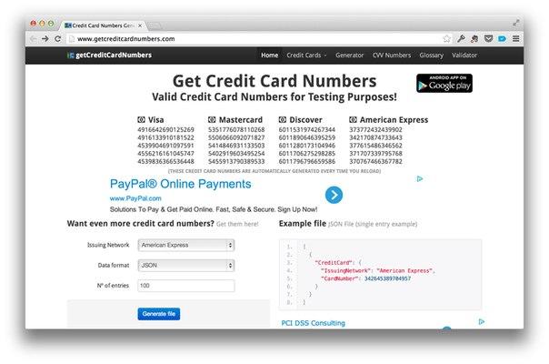 Как попробовать любой сервис просящий номер платежной карты не вводя его →.