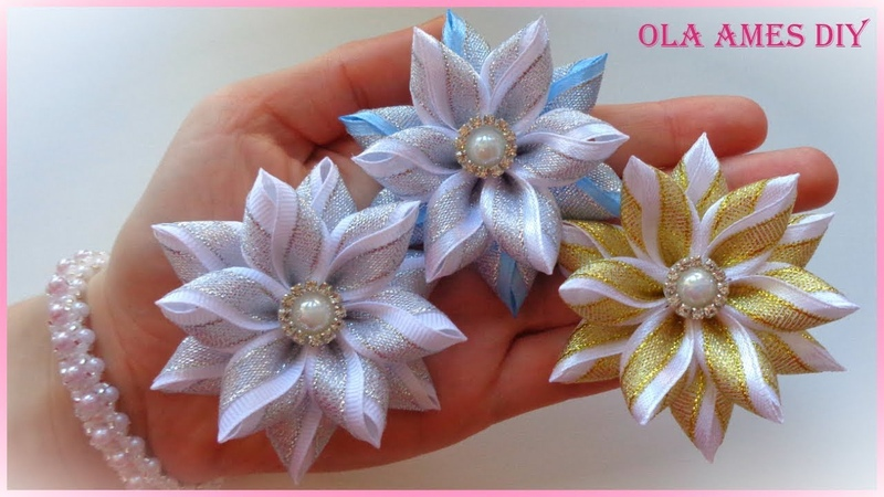 Цветы из узкой ленты/ Канзаши/ Hair Flower Tutorial/ Kanzashi Flowers/ Flores de fitas/ Ola ameS DIY