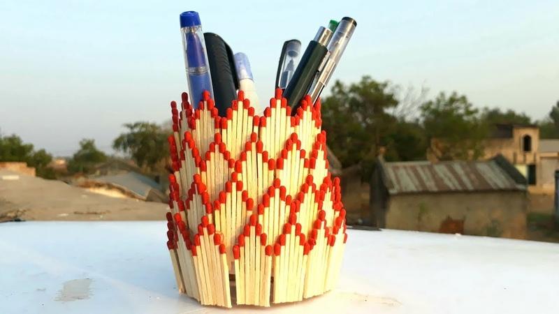 Matchstick art | How to make matchstick pen stand | easy pen hoder making from waste matchstick.