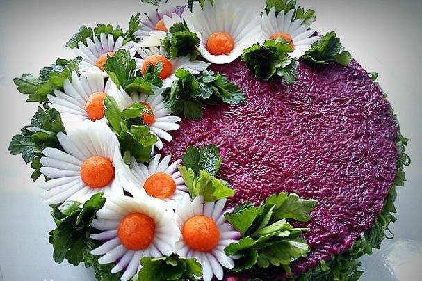 Как сделать красиво салат под шубой