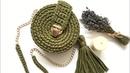 Круглая сумка из трикотажной пряжи крючком часть 1 Crochet bag Сумка пухляшка узор галочка