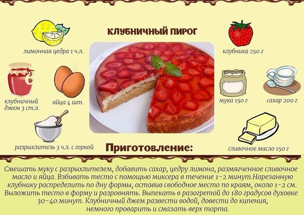 Рецепты тортов и пирогов с клубникой
