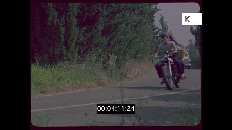Young Couple Riding Motorbike, 1960s UK Countryside, HD