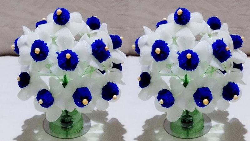 गुलदस्ता DIY NEW DESIGN WOOLLEN GULDASTA FOAM GULDASTA WITH PLASTIC BOTTLE FOAM FLOWER FOAM
