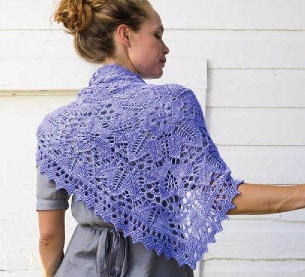 Ажурная шаль спицами (4 фото) - картинка