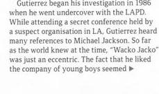Гутьеррес признался, что он присутствовал на «секретной конференции», назвал себя «агентом под прикрытием». На самом деле это была конференция NAMBLA, и он присутствовал там в качестве члена организации, или гостя [скриншот из выпуска GQ за май 2006 года].