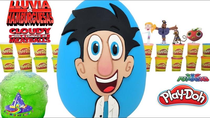Huevo sorpresa Gigante de Lluvia de Hamburguesas de Flint de Plastilina Play-doh en Español