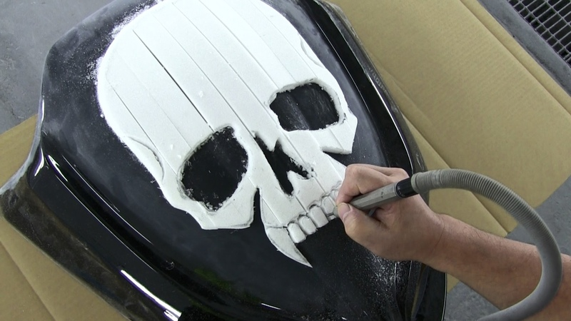How to make a motor cycle fairing. 3D Skull Custom Paint カスタムペイント・バイク