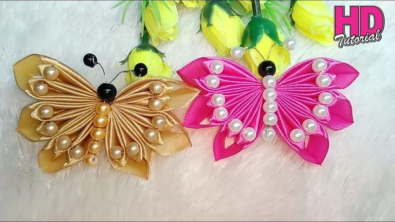 DIY Kupu kupu Butterfly how to make satin ribbon flower HD TUTORIAL