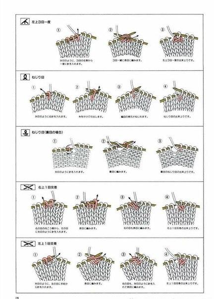 в японских схемах вязания