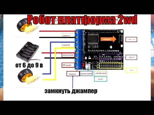 Машинка робот 2WD 4WD платформа на базе esp8266 wi fi сборка прошивка