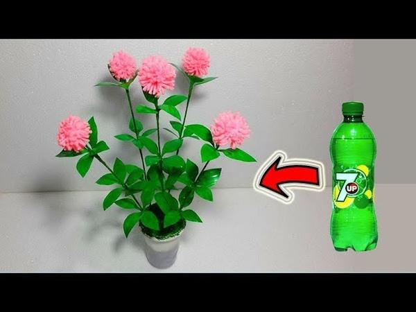 Make Beautiful flower tree Empty plastic bottle vase making crafts Water bottle recycle flowers